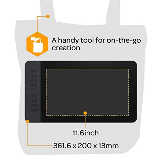 GAOMON液タブPD116111.6インチIPSHDデジタルイラスト液晶ペンタブレット8つショートカットキーと8192レベル筆圧の電池不要ペンを備えたペンディスプレイmacOS/Windows対応