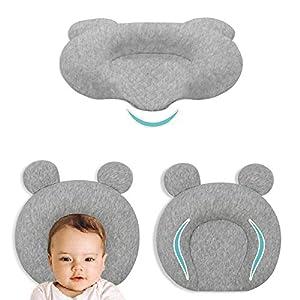 Infant Support Head Pillows Soft Baby Nursery Pillows Unisex Newborn Head Shaping Pillow Support Head Sleep Pillows 0-12 M(Grey)