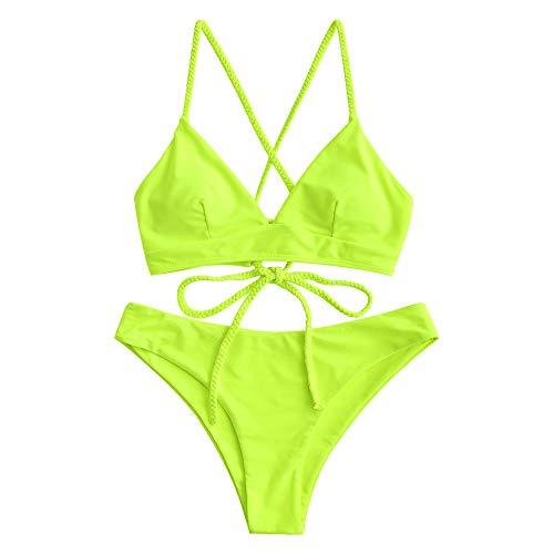 ZAFUL Women's Scale Print Lace-up Crisscross Bralette Bikini Set Swimsuit (X-Green Yellow, M) Delaware
