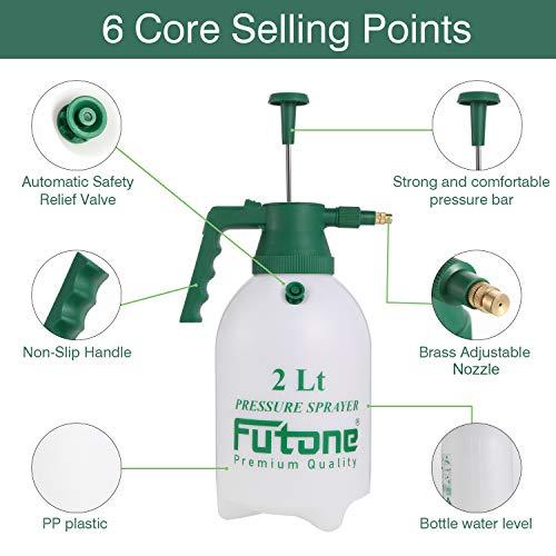 Futone 0.5 Gallon Hand Held Garden Sprayer Water Pump Pressure Sprayers for Lawn and Garden - (2.0L White)
