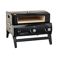 Bake pizzas in under 2 minutes. (Performance may vary depending upon grill performance, environmental conditions and other factors.) 25, 000 BTU burner system reaches over 800˚ F (426˚ C). (¹temperatures vary throughout the oven.) Includes pizza oven...