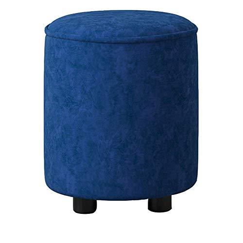 Reposapiés Creative Light Fabric Sofá Taburete otomano Cambiando Sus Zapatos Selección del tamaño de la Sala de Estar (Color: Azul Oscuro, Tamaño: 36 * 41cm)