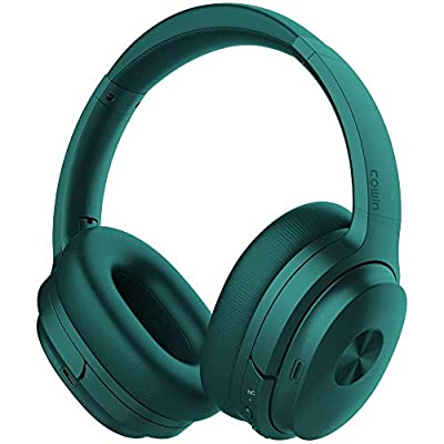 cowin SE7 Active Noise Cancelling Headphones Bluetooth Headphones Wireless Headphones Over Ear with Mic/Aptx, Comfortable Protein Earpads 50H Playtime, Foldable Headphones for Travel/Work (Dark Green) by cowin
