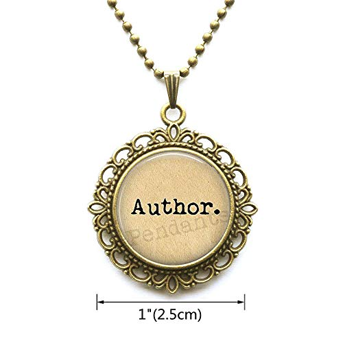AllGlassCharm Author Pendant Necklace-Gift for Writer-Writing Jewellery-Love to Write-Writer Jewelry-Author Jewelry-Literature Jewelry,AS0171