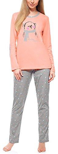 Merry Style Pijama Conjunto Camiseta y Pantalones Ropa de Cama Mujer MS10-169 (Salmón Gris, S)