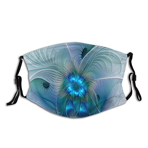 asdew987 Ovaciones de pie, abstracto, azul, turquesa, tela fractal cara, lavable y reutilizable, para mujeres y hombres, a prueba de polvo, resistente al viento