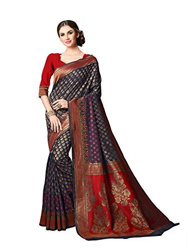 Soru Fashion Banarasi Silk Saree (Cott-692_Dark Blue & Red