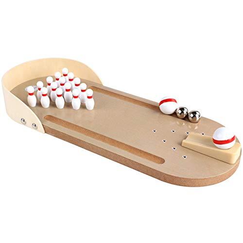 Renwu Mini Bowling Holz Tischbowling Spiel Für 3 Jahre Und Älter Kinder,Mini Bowling Ball Set Bowlingbahn Für Indoor Eltern-Kind Erwachsenen Spiel Lernspielzeug