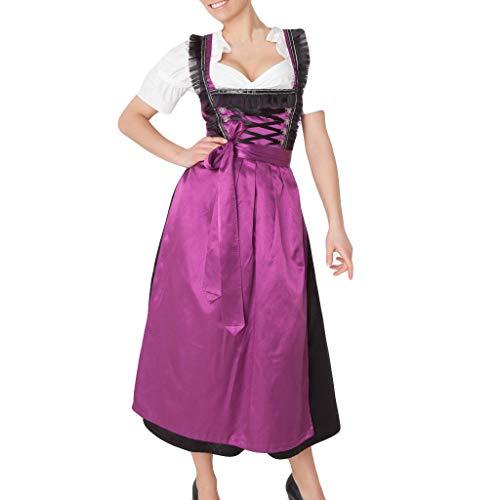 WHSHINE Bierfest Kostüm Einfarbig Kleider,Frauen Bandage Schürze V-Ausschnitt Oktoberfest Kostüme Dienstmädchen Kleidung Casual Maxikleid Partykleid