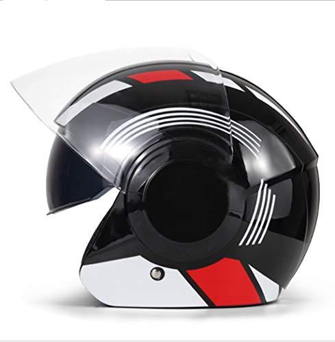 Outdoor sport houlian shop Motorfiets zwarte helm Elektrische fiets dubbele lens helm voor mannen en vrouwen Herfst en winter scooter helm