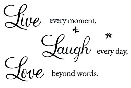 Unves Wall Stickers for Living Room, Live Every Moment, Laugh Every Day, Love Beyond Words Wall Stickers, Family Inspirational Wall Decals for Home Wall Quotes for Bedroom Classroom
