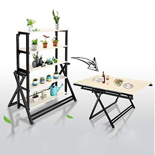 JM Déformation table à manger Stand de fleurs Étagère Carré Multifonction pli Simple moderne multi-niveaux balcon européen (Couleur : A)