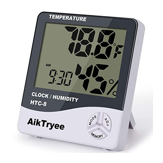 Digital Thermometer Indoor Hygrometer Room Thermometers and Humidity Gauge with Temperature Humidity Monitor by AikTryee 1 【EASY TO INSTALL and EASY READING】 Digital Thermometer Hygrometer Easy to read big LCD screen, Indoor room thermometer features a tabletop stand to place the temperature monitor on your counter or fixed on the wall. 【High & Low Records】Hygrometer digital thermometers displays high and low temperature & humidity; Indoor thermometer is highly accurate, ±2~3%RH and ±1°F. 【Healthier Home & Environment】Thermometer hygrometer with temperature and humidity monitor Controlling comfortable temperature and humidity is the guarantee of health, Multiple uses, for example refrigerator thermometer, freezer thermometer, reptile thermometer, soil thermometer, humidor hygrometer, cigar hygrometer and more!