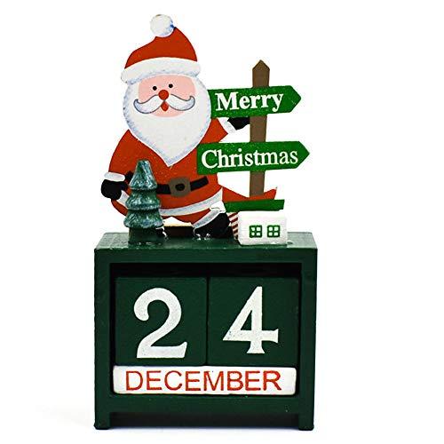 Tmflexe 2020 Advent Calendar 24 Days Xmas Countdown Table Calender Whole Year Canlender Handmade Wooden Blocks Desk Decoration for Home Office Decor (Santa Green)