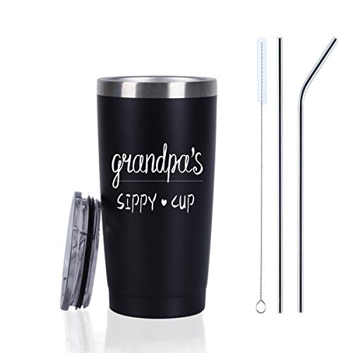 Grandpa's Sippy Cup Travel Tumbler, Christmas Father's Day Gifts for Grandpa Grandfather, 20 Oz Insulated Stainless Steel Travel Tumbler Mug with Lid and Straw