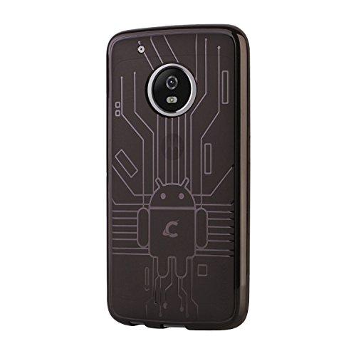 Cruzerlite Moto G5 Plus Case, Bugdroid Circuit TPU Case for Motorola Moto G5 Plus - Retail Packaging - Smoke