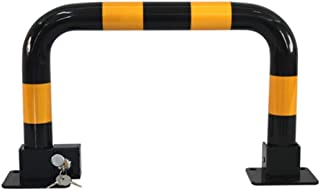 YUN Clock@ Parking Barrier Manual Parking Blocker and Space Saver Made of Metal w/ 3 Keys as Barrier for Cars w/Reflective Markers Locking Park, Black, 620 x 340 x 70 mm