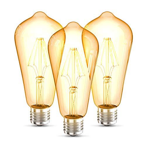 B.K.Licht 3 Lampadine LED vintage Edison, attacco grosso E27, luce calda 2700K, 4W, 380Lm, forma ST64, Set di 3, lampadina con filamento, lampadina retrò con vetro ambrato, lampadina d'epoca