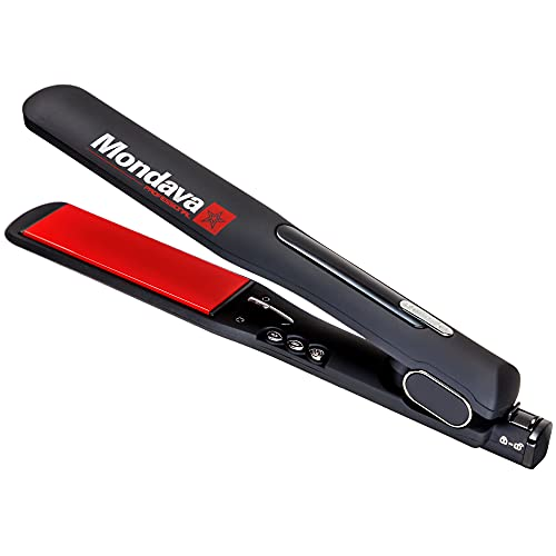 MONDAVA Professional Ceramic Tourmaline Hair Straightener Flat Iron and Curler - Dual Voltage Adjustable Digital LED Technology, Straighten and Style Frizzy Hair in 8 Min, 1¼'