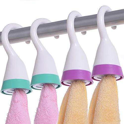 4 Stück Handtuchhalter Geschirrtuchhalter Kunststoff Ohne Bohren mit Aufhängehaken für Badezimmer Küche (Grün +Pink)