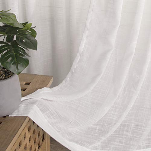 """VISIONTEX Off White Sheer Curtains Textured 84 Inches Long, Casual Weave Faux Burlap, Darkening Privacy Window Treatment Panels for Rustic Farmhouse Sliding, Width 54"""" x Length 84"""", Set of 2"""