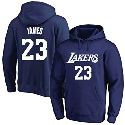 Jersey Hooded Pullover Basketball Hoodie Trainingsanzug, Blue Jersey Trainingsanzug, Lakers 23# James, geeignet für Outdoor, täglich, Sport-XL