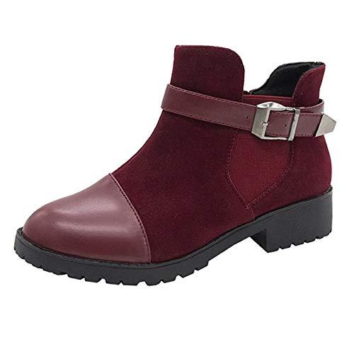 Damen Stiefel,Mode Frauen Reißverschluss Square Heel Schnallenriemen Solid Color Short Booties Runde Zehen Schuhe,Winterstiefel mit Riemen am Kurzschaft