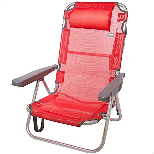 Aktive 53971 - Silla plegable de playa, Sila multiposición, 5 posiciones, altura del asiento 23 cm, 60x47x83 cm, color rojo, con cojín, con bolsillos, Aktive Beach