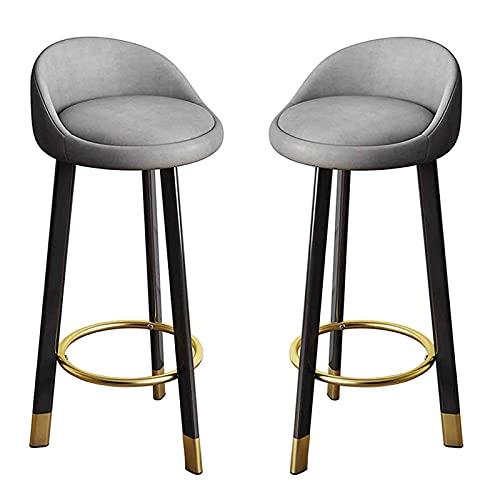 MYAOU Set di 2 sedie da Cucina da Pranzo, sgabelli da Bar per la Colazione con poggiapiedi in Metallo e Base con Morbido Cuscino in Lino Imbottito Sgabello Alto Grigio