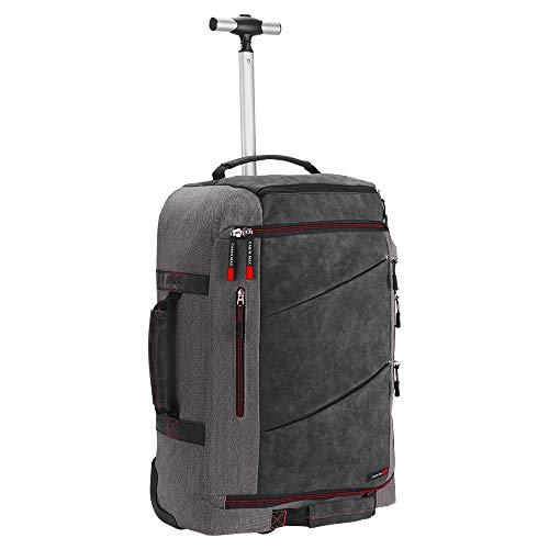 Cabin Max Manhattan koffer, handbagage trolley 55x40x20, trolley rugzak, 44 liter handbagage tas, Ryanair, Transavia, reistas op wielen, reistas, apart tabletvak (Rood Trolley)
