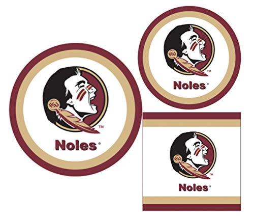 Florida State Seminoles Party Supplies - Bundle Includes Paper Plates and Napkins for 10 People