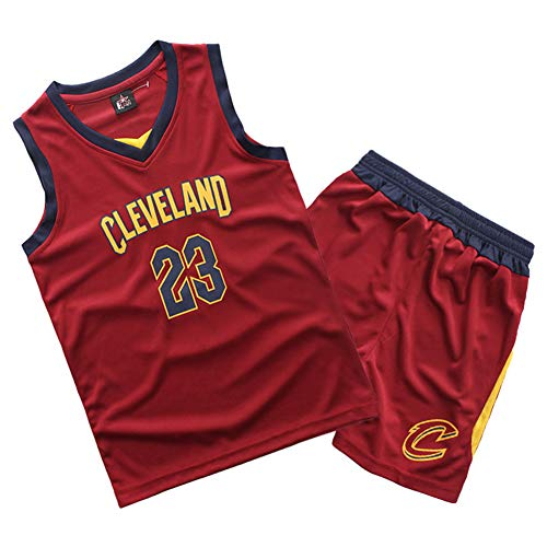 FDRYA Boy's Basketball Trikot Lakers 23 James/Cavs # 23 James/Kyrie Irving # 11 Boston Celtics, Schnelltrocknende Weste Trainingsuniform Jersey Top Shorts Sport Set-Red-M(130-140CM)