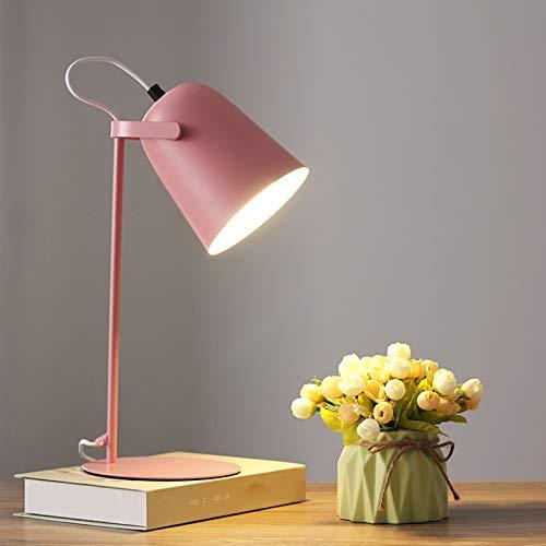 FREETT Lámpara de Escritorio Infantil LED Lámpara de Mesa Metal E27 con Interruptor de Botón, Lámpara de Noche Dormitorio Juvenil, 5W Luz Calida, Pantalla de Lámpara Ajustable,Rosado