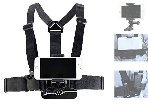 DURAGADGET Kit Imbracatura da Petto per Apple iPhone 7   7 Plus   SE   6s   6s Plus   6   Plus   5s   5c   5   4s   4 + Adattatore Smartphone/Action Cam