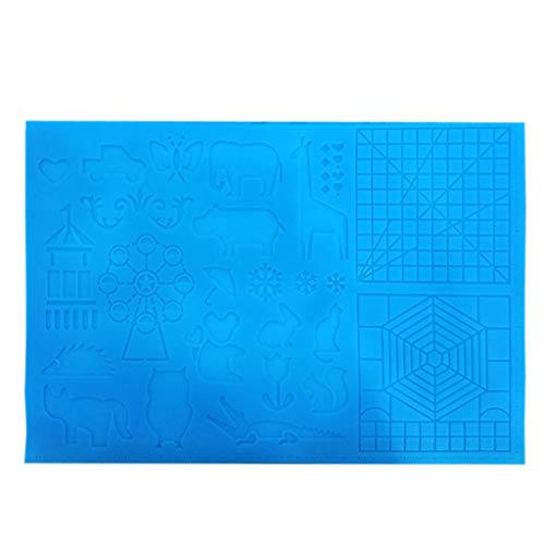 3D Printing Pen Mat,DIY Silicone Template,Foldable Design,3D Drawing Pad with 2 Finger Protectors Gift for 3D Beginners