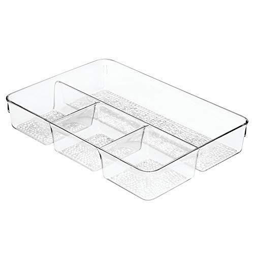 iDesign Organizador de maquillaje, organizador de cajones de plástico con textura, caja organizadora con 4 compartimentos para cosméticos, transparente