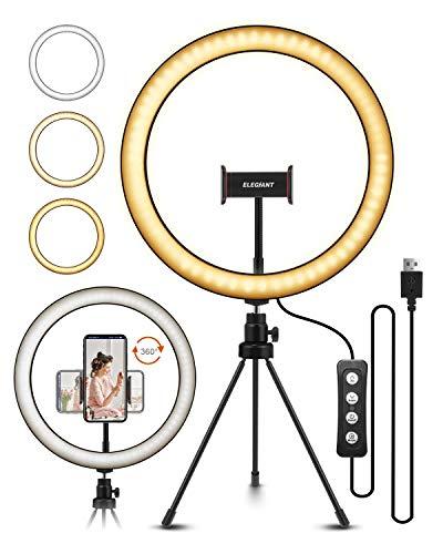 ELEGIANT Anillo de Luz LED Fotografia 10.2' de Escritorio, Aro de Luz con Trípode Control Remoto Inalámbrico 3 Colores, 11 Brillos Altura Regulable para Móvil Selfie Maquillaje Youtube Live