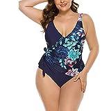 Bikini Costume Intero Plus Fertilizzante Aumenta Cuciture Sexy,Blue-XL