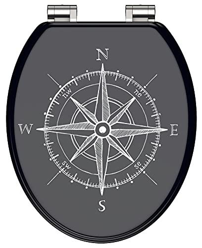 WC-Sitz - Toilettendeckel | Klodeckel mit Absenkautomatik | MDF Holzkern | Toilettensitz mit Muster (Kompass)