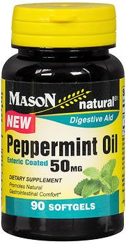 Mason Natural Peppermint Oil 50 mg Enteric Coated Softgels - 90 Softgels, Pack of 3