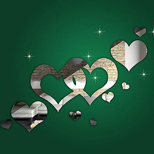 Xisheep 1 bonito espejo plateado corazones decoración de la habitación del hogar arte 3D DIY pegatinas de pared, Navidad fiesta...
