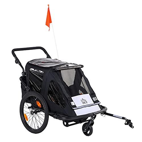 HOMCOM Kinderanhänger Fahrradanhänger mit Aufbewahrungstasche Kinderwagen mit Mesh-Tür Fahne klappbarer Kinderanhänger 2 in 1 Design Metall Oxford Schwarz 160 x 83 x 96 cm