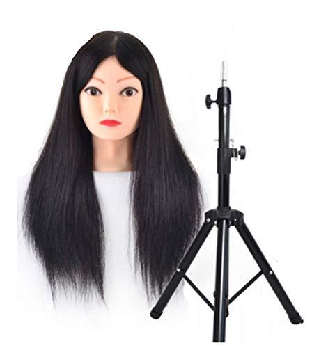 Coiffer Coiffure Femme Mannequin 99% Vrais Cheveux + Support + Accessoires Tête De Mannequin Femme Formation Beauté Maquillage Étudiant,Noir