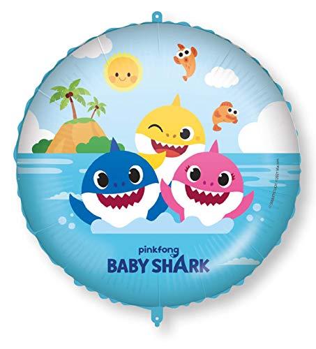 Procos 92977 - Folienballon Baby Shark, Durchmesser circa 46 cm, Helium, Luft, Ballon, Geburtstag, Mitbringsel, Geschenk