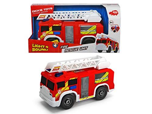 Dickie Toys Fire Rescue Unit, Feuerwehrauto, Spielzeugauto, Feuerwehr, bewegliche und ausfahrbare Leiter, Licht & Sound, inkl. Batterien, 30 cm groß, ab 3 Jahren