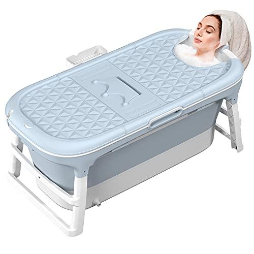 MCGMITT Vasca da bagno pieghevole, Grande vasca da bagno portatile pieghevole Immergere vasca a 3 stadi per bambini/adolescenti Mantenimento efficiente della temperatura vasca da bagno SPA EuroBath