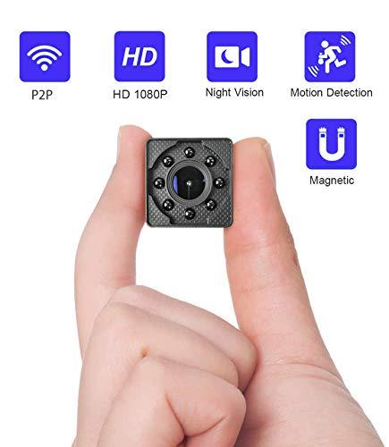 Cámara espía Oculta WiMaker, HD 1080P Mini cámara espía WiFi P2P Monitor de Corta Distancia para visualización del teléfono/visión Nocturna/detección de Movimiento/grabación de Bucle de Tarjeta SD
