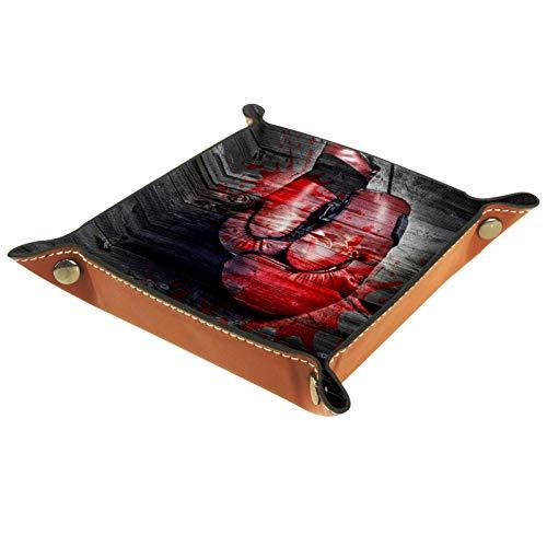 YATELI Kleine Aufbewahrungsbox,Herren-Valet-Tablett,Boxhandschuhe braunes Holzmaserungsblut,Leder Catchall Organizer für Coin Box Key Schmuck