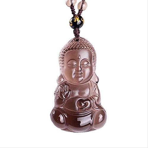 NC134 Collar Collar Collar de obsidiana de Hielo Colgante Bebé Buda Joyería para Hombres Mujeres S Colgante Joyería Fina con Cadena