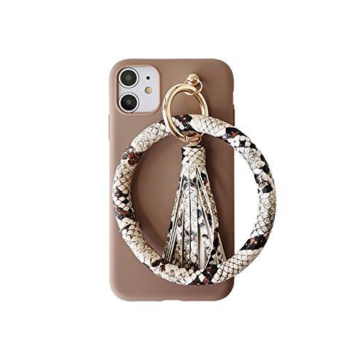 LIUYAWEI Pulsera de Cuero de Lujo con borlas para teléfono para iPhone 11 11Pro XR X XS MAX SE 6S 7 8 Plus Funda de Silicona Suave Mate, marrón Oscuro, para iPhone SE 2020
